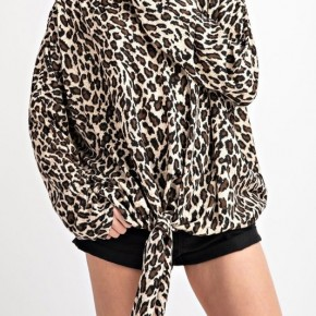 Leopard Print Brushed Hacci Knit Tie Front Top