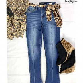 Judy Blue Cropped Straight Leg with Leopard Sash/Belt