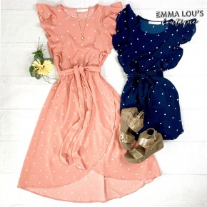 Ribbon Waist Ruffled Polka Dot Print Wrap Dress w/Lining