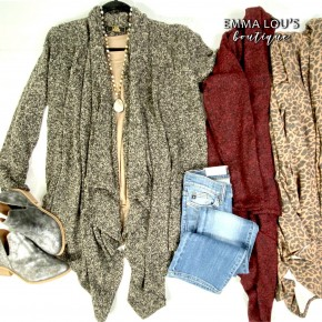 L&B Diagonal Hem Waterfall Cardigan