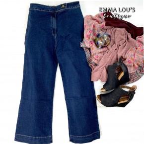 L&B Dark Wash Culotte Capri Jeans