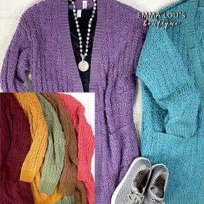 Popcorn Knit Sweater Cardigan