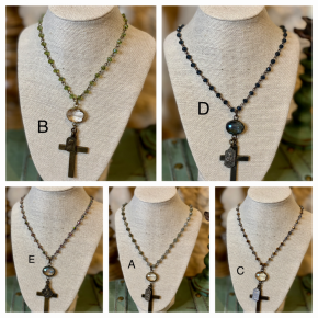 Melania Clara Long Beaded Necklace with Vintage Cross Pendant
