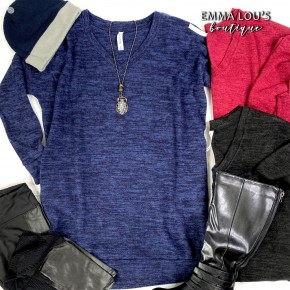 Tunic Length V-Neck Sweater with Pockets