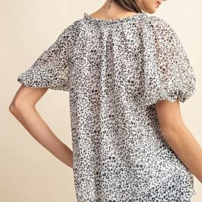 "Leopard Print Twisted Sleeve ""Phoebe"" Blouse"