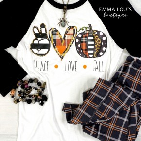 Peace Love Fall Raglan Tee