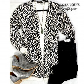 Zebra Long Sleeve Cardigan