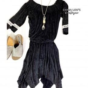 Elastic Off Shoulder Black Dress *Final Sale*