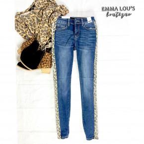 Leopard Side Stripe Skinny Judy Blue