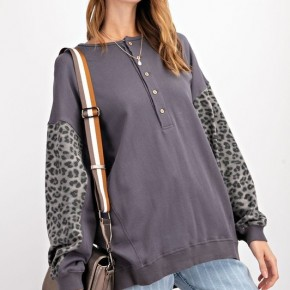Long Sleeve Terry Knit Mix Leopard Print Pullover
