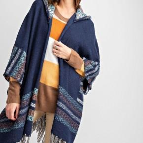 Easel Mercer Hooded Kimono Inspired Cardigan