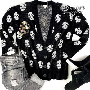 Button Down Low V-Neck Black Sweater Cardigan w/White Skulls