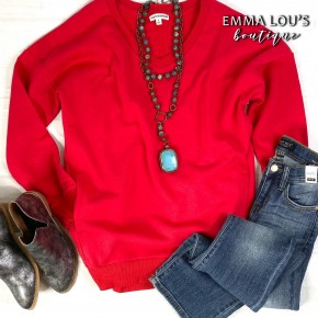 Tunic Length V-Neck Sweatshirt with Pockets