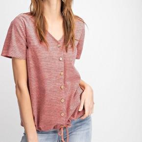 "Short Sleeve Striped Cotton ""Jolene"" Button Up Top"