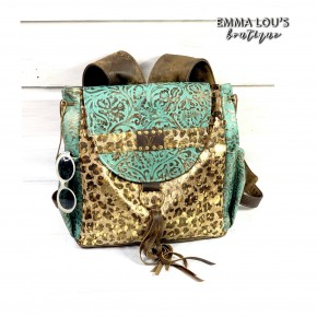 Keep It Gypsy LV Rosie Gold and Teal Backpack