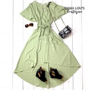 Woven Maxi Dress w/Faux Wrap & Hi-Low Front
