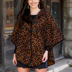 One Size Brown Leopard Poncho