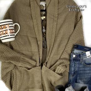 Pattern Knit Dolman Sleeve Slouch Cardigan
