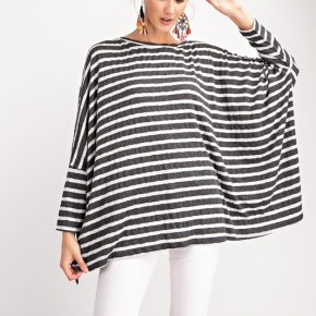 Over Sized Stripe Lightweight Boxy Tunic Top