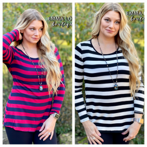 BLACK FRIDAY Stripe Back Button Patch Sleeve Top