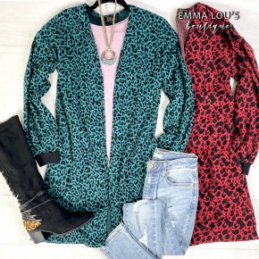 Long Sleeve Leopard Print Knit Cardigan