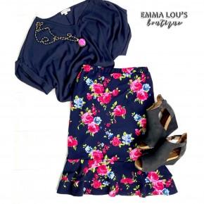 Navy Blue Floral Ruffle Midi Skirt