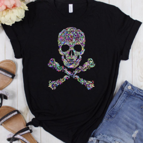 Paisley Skull Black Graphic Tee