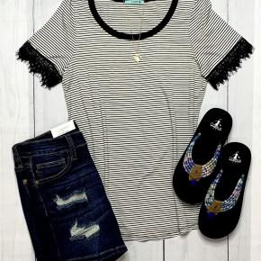 Short sleeve Stripe Lace Sleeve
