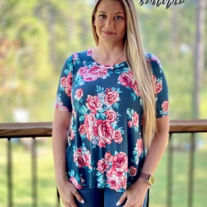 BLACK FRIDAY Floral Print Tunic Top w/Short Sleeves