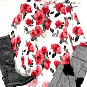 BLACK FRIDAY 3/4 Sleeve Ivory w/Red Flowers Bulgari Top