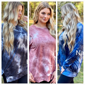 TIE-DYE LONG SLEEVE WIDE NECKLINE TOP