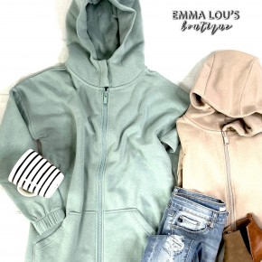2 Way Zippers Hooded Sweat Jacket with Kangaroo Pockets