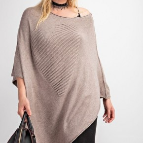 Big Heart Sweater Knit Poncho