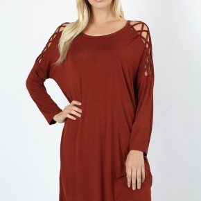 Criss Cross Shoulder Tunic Length Dolman Top