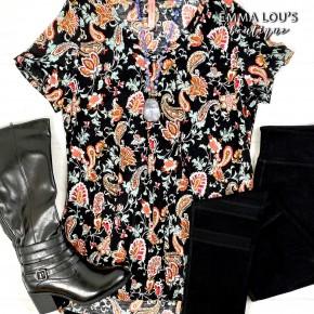 BLACK FRIDAY Short Sleeve Black V-Neck Paisley Print Bulgari Top
