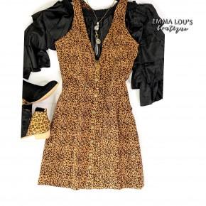 Leopard Corduroy Overall Dress