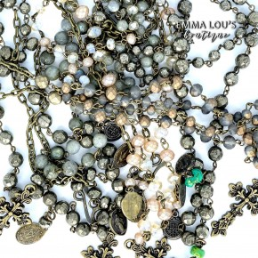 Melania Clara Cassie Double Strand Beaded Necklace with Cross Charms