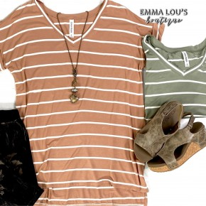 Striped V-Neck Rolled Short Sleeve High-Low Top
