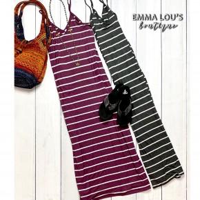 Striped V-Neck Cami Maxi Dress w/Pockets
