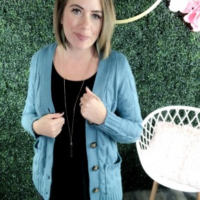 Cable Knit Button Front Cardigan with Pockets