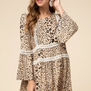Cheetah crochet scoop-neck dress