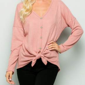 Dusty Rose Button Down Tie Front Top