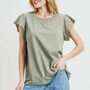 Olive Eyelet Laced Sleeve Top