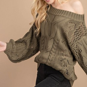 Olive Cable Chunky Sweater