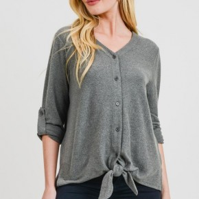 Olive Branch Soft Tie Front Sweater *Final Sale*