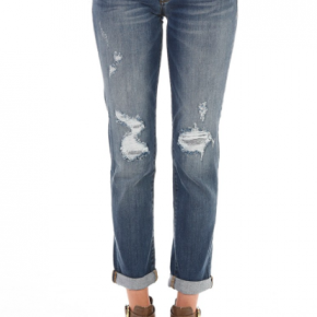 Cuffed Distressed Boyfriend Jeans *Final Sale*