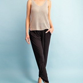 Black Banded Pants with Shirring Detail