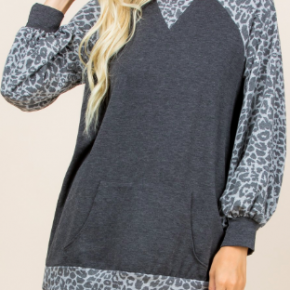 Charcoal Animal Print Tunic *Final Sale*