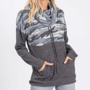 Charcoal Camo Cowl Neck Pullover *Final Sale*