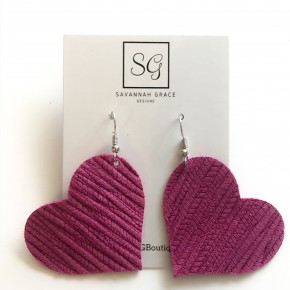 Genuine Leather Heart Earrings